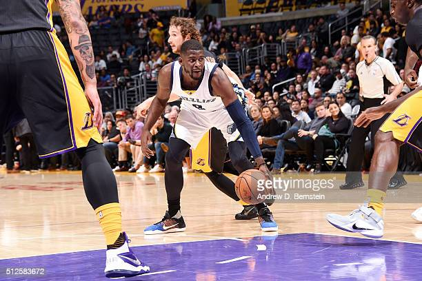 James Ennis of the Memphis Grizzlies handles the ball during the game against the Los Angeles Lakers on February 26 2016 at STAPLES Center in Los...