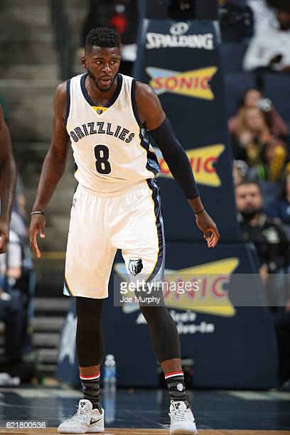 James Ennis of the Memphis Grizzlies looks on during the game against the Denver Nuggets on November 8 2016 at FedExForum in Memphis Tennessee NOTE...