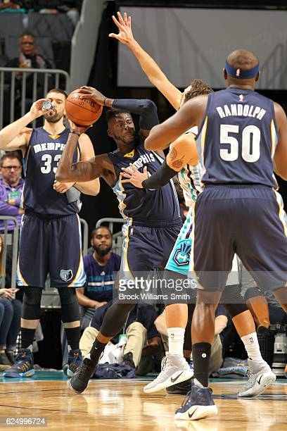 James Ennis of the Memphis Grizzlies looks to pass the ball against the Charlotte Hornets during the game at the Spectrum Center on November 21 2016...