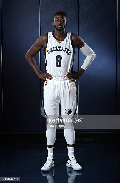 James Ennis of the Memphis Grizzlies poses for a portrait during Memphis Grizzlies Media Day on September 26 2015 at FedExForum in Memphis Tennessee...