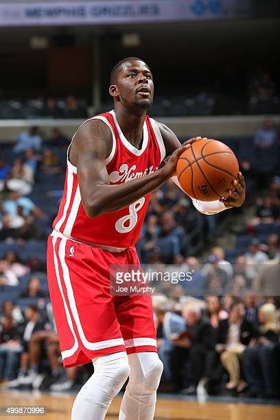 James Ennis of the Memphis Grizzlies shoots a free throw during the game against the San Antonio Spurs on December 3 2015 at FedExForum in Memphis...