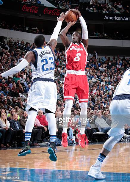 James Ennis of the Memphis Grizzlies shoots a jumper against the Dallas Mavericks on December 18 2015 at the American Airlines Center in Dallas Texas...