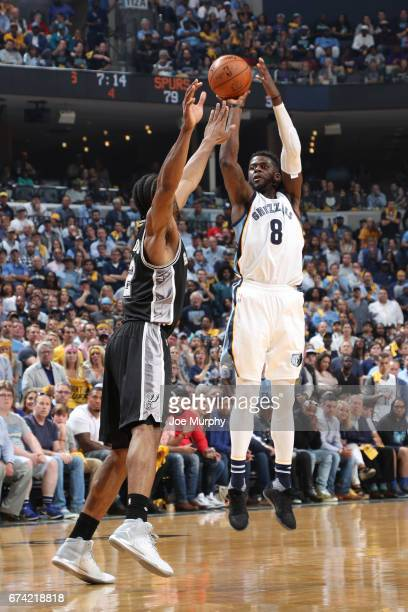 James Ennis of the Memphis Grizzlies shoots the ball against the San Antonio Spurs during Game Six of the Western Conference Quarterfinals of the...