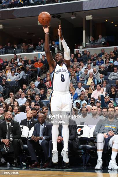 James Ennis of the Memphis Grizzlies shoots the ball during a game against the New Orleans Pelicans on February 15 2017 at FedExForum in Memphis...