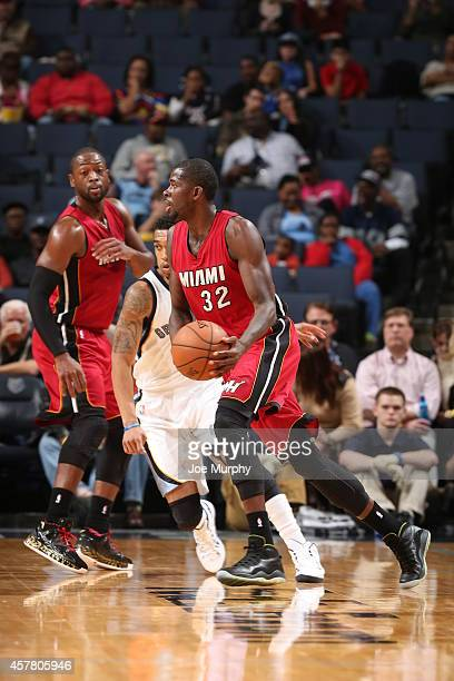 James Ennis of the Miami Heat handles the ball against the Memphis Grizzlies on October 24 2014 at FedExForum in Memphis Tennessee NOTE TO USER User...