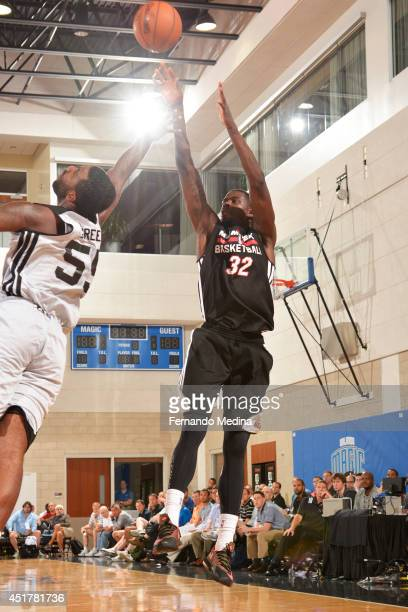 James Ennis of the Miami Heat takes a shot against the Brooklyn Nets during the Samsung NBA Summer League 2014 on July 6 2014 at Amway Center in...