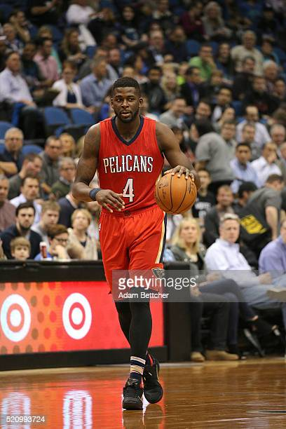 James Ennis of the New Orleans Pelicans warms up before the game against the Minnesota Timberwolves on April 13 2016 at Target Center in Minneapolis...