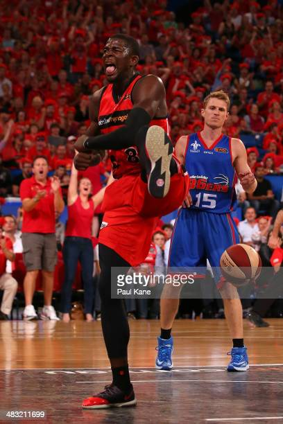 James Ennis of the Wildcats celebrates after a dunk during game one of the NBL Grand Final series between the Perth Wildcats and the Adelaide 36ers...