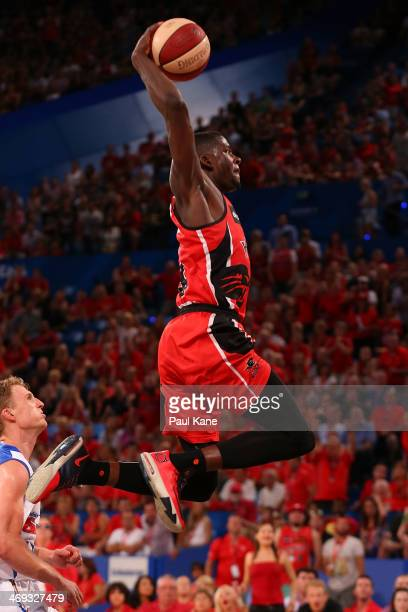 James Ennis of the Wildcats dunks the ball during the round 18 NBL match between the Perth Wildcats and the Adelaide 36ers at Perth Arena on February...