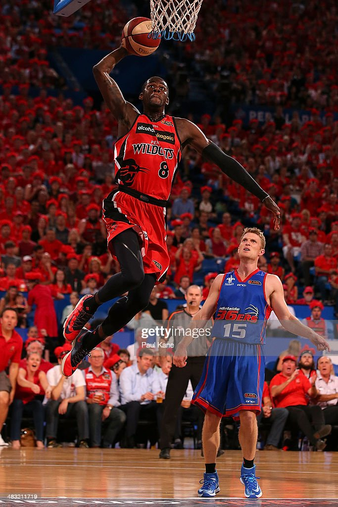 James Ennis of the Wildcats sets for a dunk during game one of the NBL Grand Final series between the Perth Wildcats and the Adelaide 36ers at Perth Arena on April 7, 2014 in Perth, Australia.