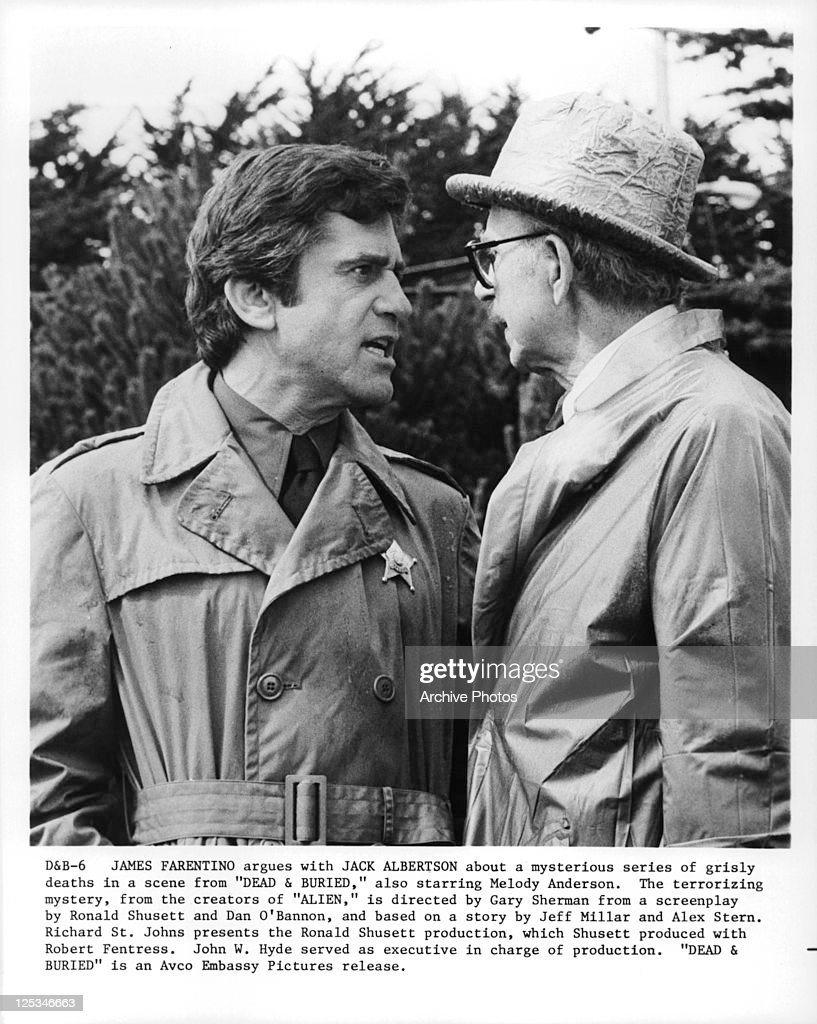James Farentino And Jack Albertson argue in a scene from the film 'Dead And Buried', 1981.