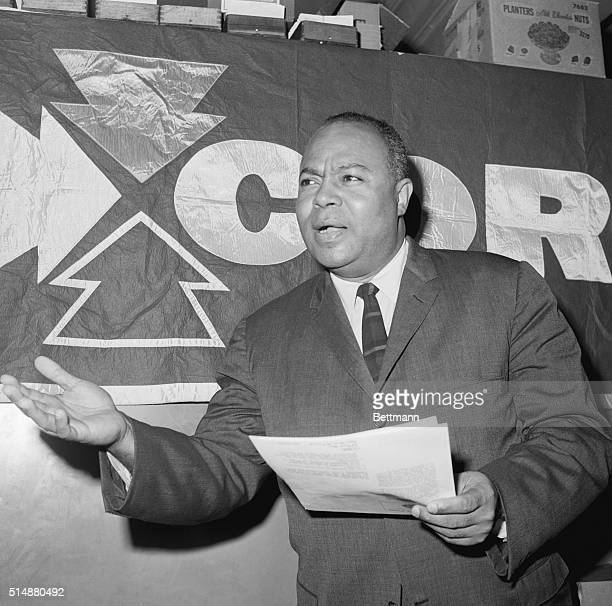 James Farmer Director of CORE speaks at a press conference about the killing of three civil rights workers in Mississippi