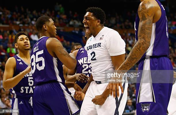 James Farr of the Xavier Musketeers reacts in the first half against the Weber State Wildcats during the first round of the 2016 NCAA Men's...