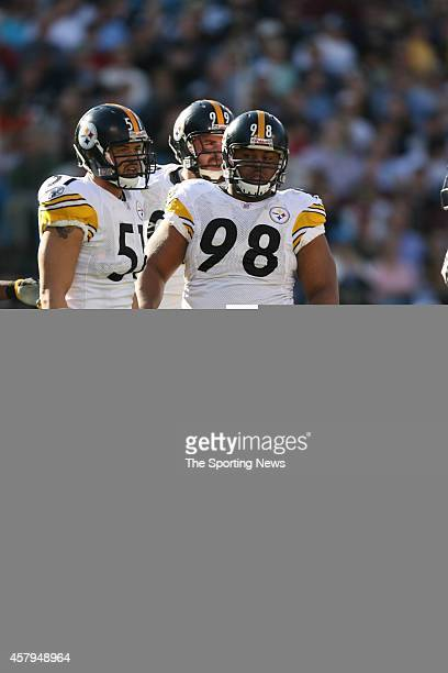 James Farrior and Casey Hampton of the Pittsburgh Steelers look on during a game against the Carolina Panthers on December 17 2006 at the Bank of...