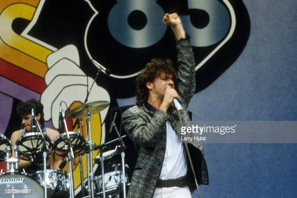 James Farriss and Michael Hutchence performing with 'Inxs' at The US Festival in Devore California on May 28 1983