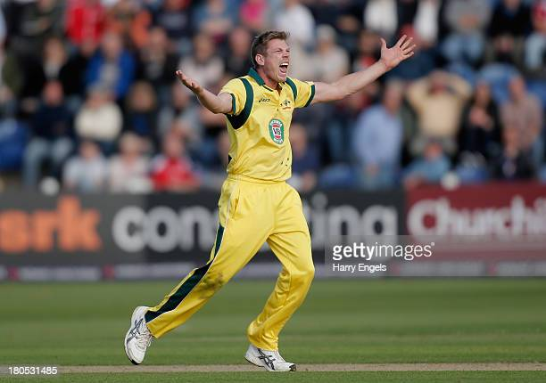 James Faulkner of Australia appeals successfully for the wicket of Ravi Bopara of England during the 4th Natwest Series One Day International between...