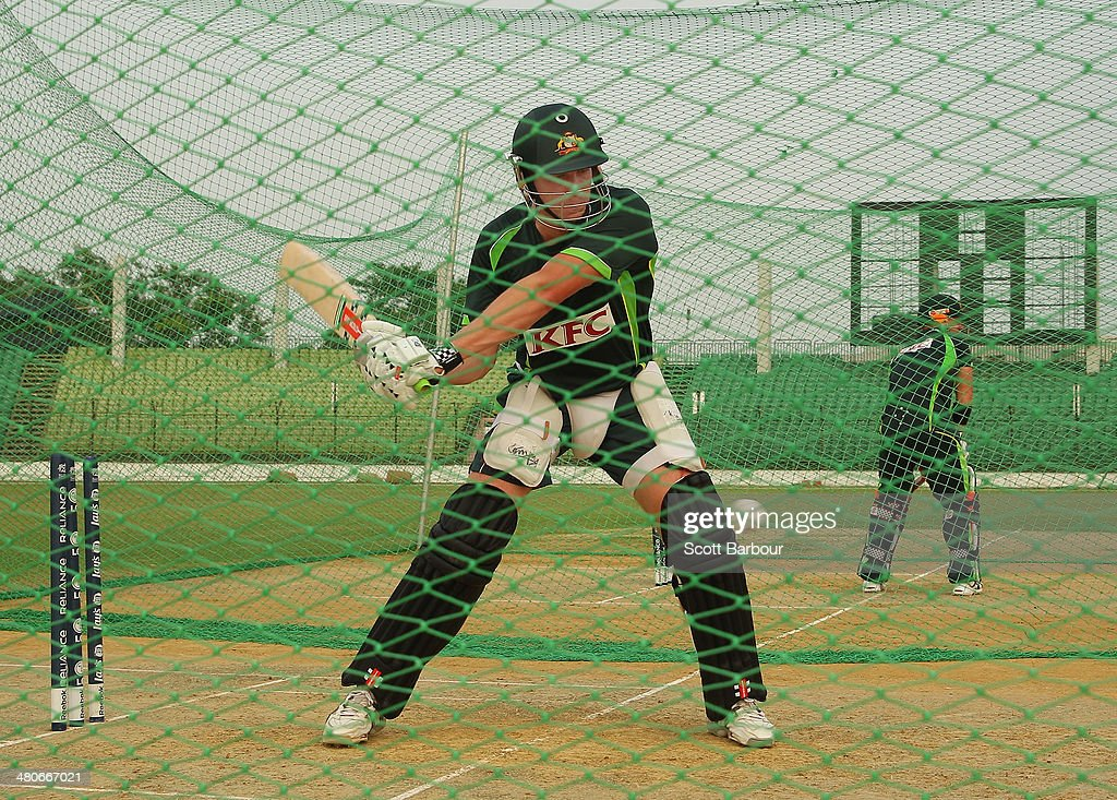 James Faulkner of Australia bats during an Australian ICC World Twenty20 Bangladesh 2014 training session at Khan Saheb Osman Ali Stadium on March 26, 2014 in Narayanganj, Bangladesh.
