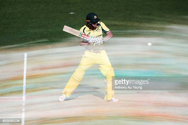 James Faulkner of Australia bats during the first One Day International game between New Zealand and Australia at Eden Park on January 30 2017 in...