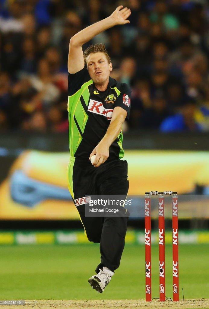 James Faulkner of Australia bowls during the first International Twenty20 match between Australia and Sri Lanka at Melbourne Cricket Ground on February 17, 2017 in Melbourne, Australia.