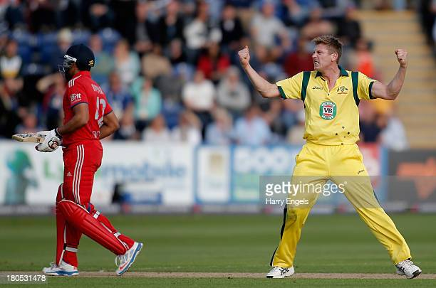 James Faulkner of Australia celebrates taking the wicket of Ravi Bopara of England during the 4th Natwest Series One Day International between...