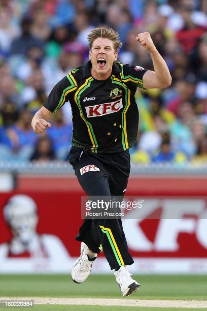 James Faulkner of Australia celebrates the wicket of Tillakaratne Dilshan of Sri Lanka during game two of the Twenty20 International series between...