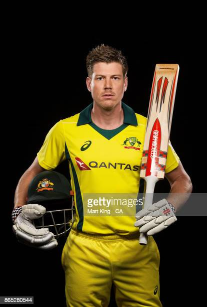 James Faulkner of Australia poses during the Australia cricket team portrait session at Intercontinental Double Bay on October 15 2017 in Sydney...