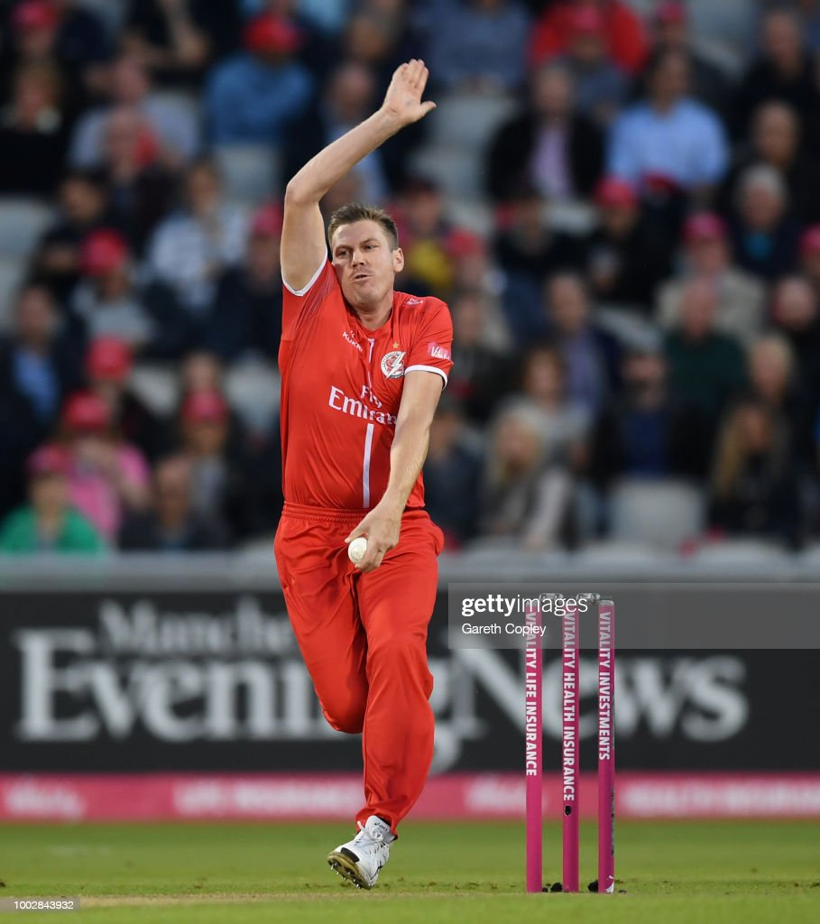 James Faulkner of Lancashire bowls during the Vitality Blast match between Lancashire Lighting and Yorkshire Vikings at Old Trafford on July 20, 2018 in Manchester, England.