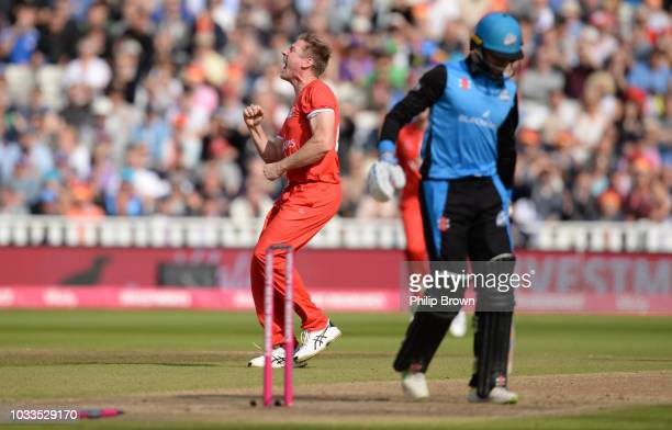 James Faulkner of Lancashire celebrates after bowling Joe Clarke of Worcestershire during the Vitality T20 Blast first semifinal between...