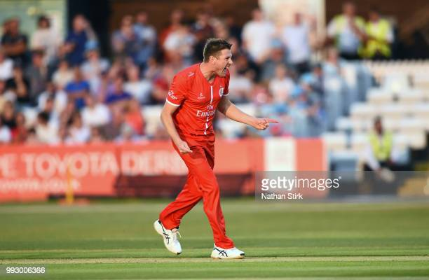 James Faulkner of Lancashire celebrates getting a wicket during the Vitality Blast match between Derbyshire Falcons and Lancashire Lightning at The...