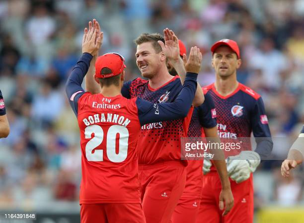 James Faulkner of Lancashire Lightning celebrates the wicket of Ricky Wessels of Worcestershire Rapids with Josh Bohannon during the Vitality Blast...