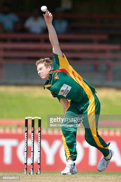 James Faulkner of Tasmania bowls during the Matador BBQs One Day Cup match between Tasmania and Victoria at North Sydney Oval on October 20 2015 in...