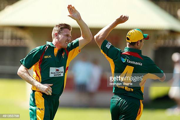 James Faulkner of Tasmania celebrates after claiming the wicket of Nathan Reardon of Qld during the Matador BBQs One Day Cup match between Queensland...