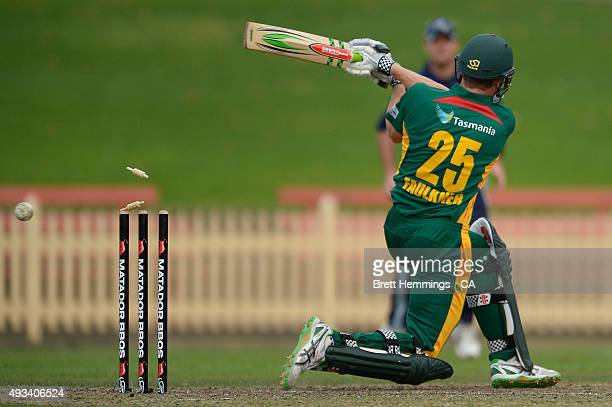 James Faulkner of Tasmania is bowled out by John Hastings of Victoria during the Matador BBQs One Day Cup match between Tasmania and Victoria at...