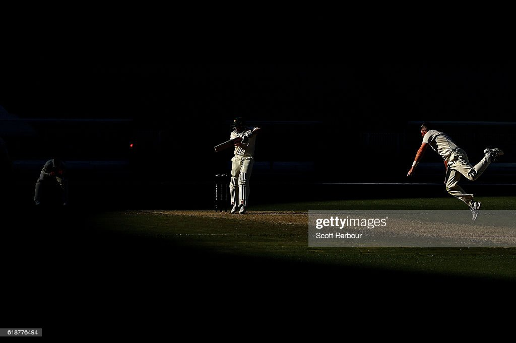 James Faulkner of Tasmania plays a shot of the bowling of Daniel Christian of Victoria during day four of the Sheffield Shield match between Victoria and Tasmania at the Melbourne Cricket Ground on October 28, 2016 in Melbourne, Australia.