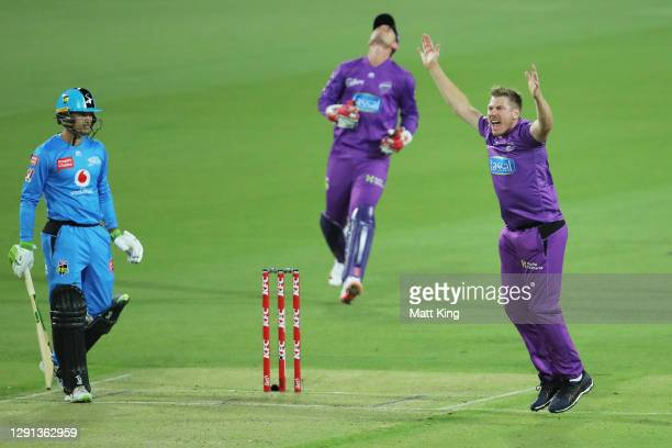 James Faulkner of the Hurricanes appeals unsuccessfully for the wicket of Alex Carey of the Strikers during the Big Bash League match between Hobart...
