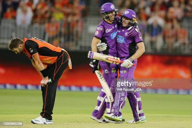 James Faulkner of the Hurricanes celebrates after hitting the winning runs during the Big Bash League match between the Perth Scorchers and the...