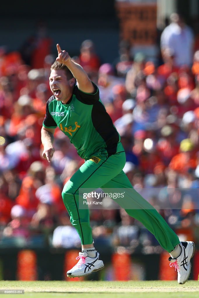 James Faulkner of the Stars celebrates the wicket of Will Bosisto of the Scorchers during the Big Bash League match between the Perth Scorchers and the Melbourne Stars at WACA on December 26, 2017 in Perth, Australia.