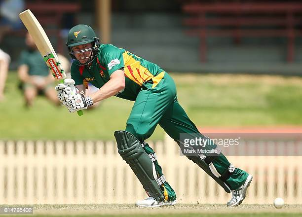 James Faulkner of the Tigers bats during the Matador BBQs One Day Cup match between Tasmania and Western Australia at North Sydney Oval on October 15...