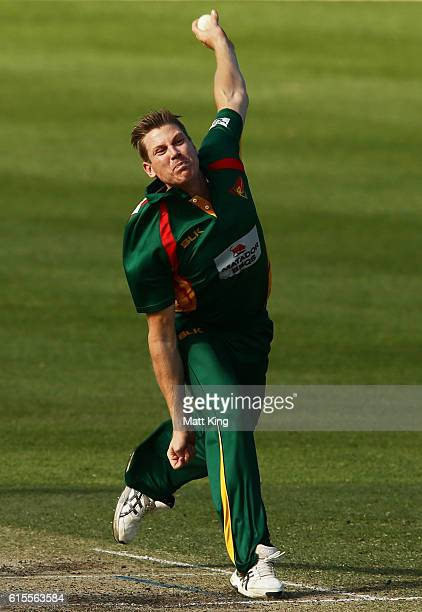 James Faulkner of the Tigers bowls during the Matador BBQs One Day Cup match between South Australia and Tasmania at Hurstville Oval on October 19...