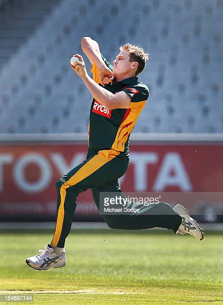 James Faulkner of the Tigers bowls during the Ryobi One Day Cup match between Victorian Bushrangers and the Tasmanian Tigers at Melbourne Cricket...