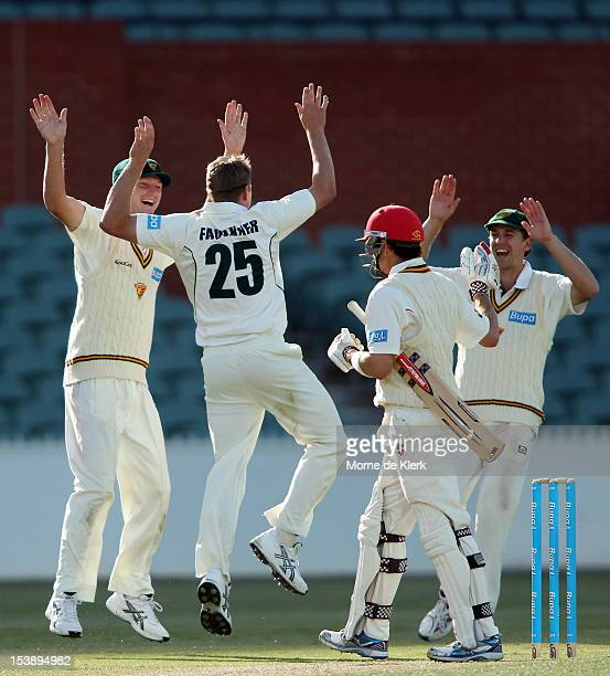 James Faulkner of the Tigers celebrates after getting the wicket of Callum Ferguson of the Redbacks during day three of the Sheffield Shield match...