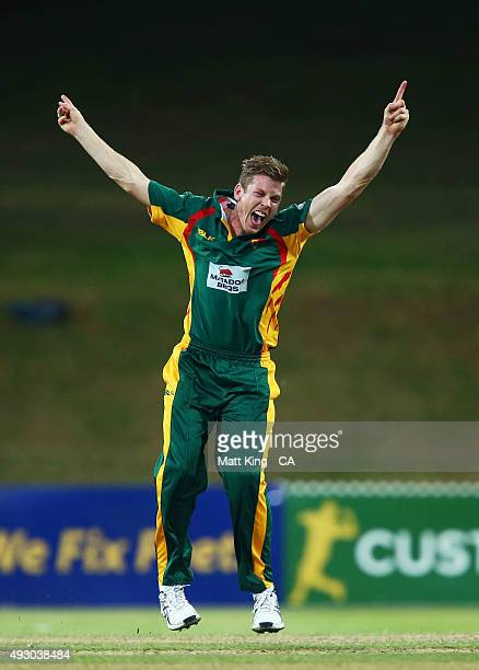 James Faulkner of the Tigers celebrates taking the wicket of Nathan CoulterNile of the Warriors during the Matador BBQs One Day Cup match between...