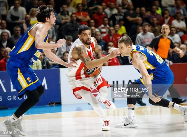 James Feldeine of Crvena Zvezda in action against Alexey Shved and Andrey Zubkov of Khimki during the 2017/2018 Turkish Airlines EuroLeague Regular...