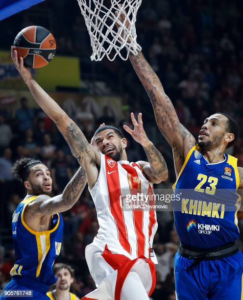 James Feldeine of Crvena Zvezda in action against Tyler Honeycutt and Malcolm Thomas of Khimki during the 2017/2018 Turkish Airlines EuroLeague...