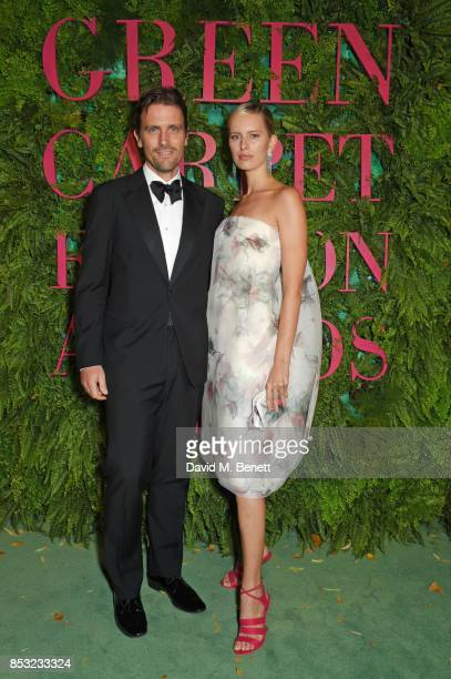 James Ferragamo and Karolina Kurkova attend the Green Carpet Fashion Awards Italia wearing Salvatore Ferragamo for the Green Carpet Challenge at...