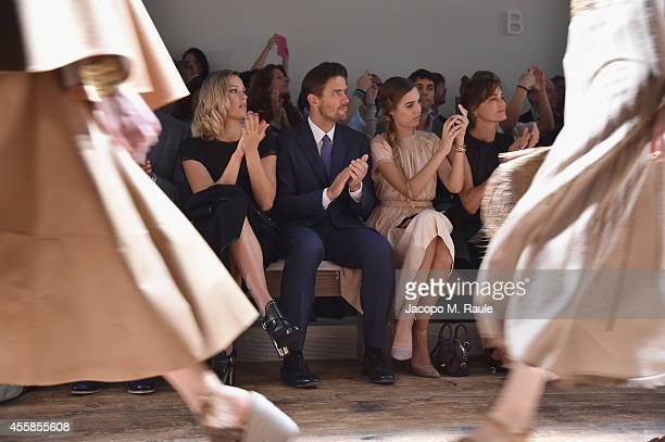 James Ferragamo Yasmin Le Bon and Amber Le Bon attend the Salvatore Ferragamo show during the Milan Fashion Week Womenswear Spring/Summer 2015 on...