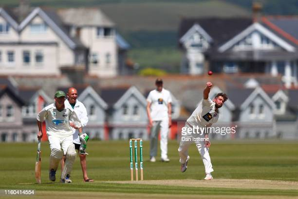 James Findlay of Bude CC bowls during the Cornwall Cricket League Division 2 East match between Bude CC and Menheniot/Looe CC at Crooklets Cricket...