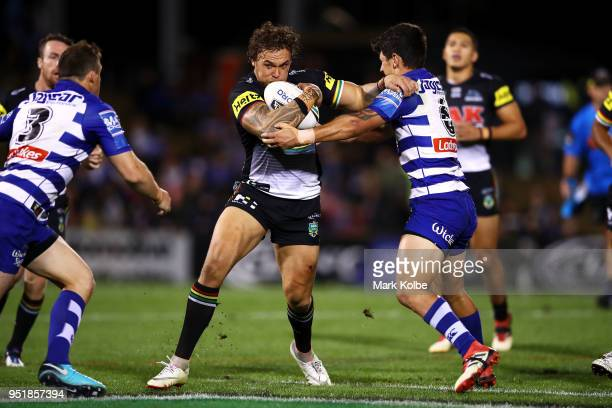 James Fisher-Harris of the Panthers is tackled during the NRL round eight match between the Penrith Panthers and Canterbury Bulldogs on April 27,...