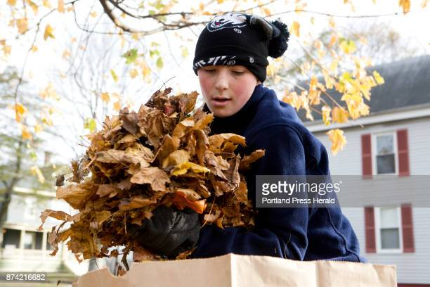 James Fletcher piles leaves into bags outside of his house in Portland on Sunday November 12 2017 James was helping his father Chris Fletcher with...
