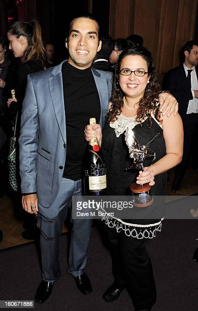 James Floyd and Sally El Hosaini winner of Most Promising Newcomer attend the London Evening Standard British Film Awards supported by Moet Chandon...